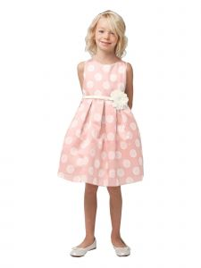 Sweet Kids Little Girls Peach Polka Dot Floral Adorned Flower Girl Dress 2-6