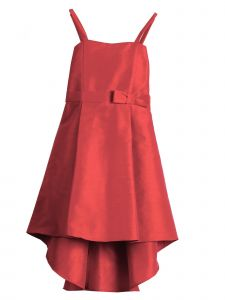 Girls Coral Dupioni Hi-Low Junior Bridesmaid Flower Girl Dress 6-16