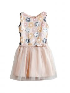 Sweet Kids Big Girls Champagne Sequin Florals Mesh Junior Bridesmaid Dress 7-12