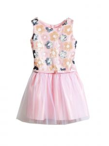 Sweet Kids Little Girls Pink Sequin Florals Mesh Flower Girl Dress 2-6