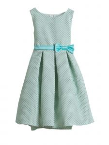 Sweet Kids Big Girls Seafoam Petite Polka Dot Pleated Flower Girl Dress 7-12
