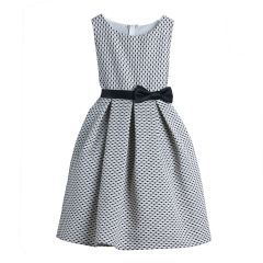 Sweet Kids Little Girls Black Polka Dots Jacquard Special Occasion Dress 2-6
