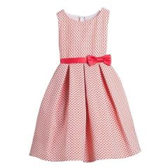 Sweet Kids Little Girls Tomato Polka Dots Jacquard Special Occasion Dress 2-6
