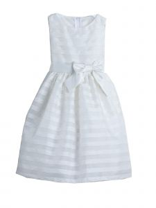 Sweet Kids Little Girls Off-White Stripe Woven Organza Flower Girl Dress 2-6