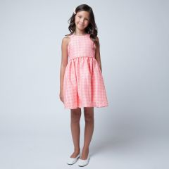 Sweet Kids Little Girls Coral Floral Jacquard Easter Special Occasion Dress 2-6