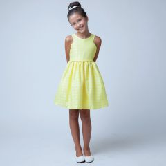 Sweet Kids Little Girls Yellow Floral Jacquard Easter Special Occasion Dress 2-6