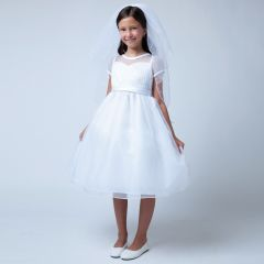 Sweet Kids Big Girls White Pleated Organza Communion Occasion Dress 7-16