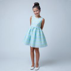 Sweet Kids Little Girls Blue Stripe Organza Special Occasion Easter Dress 2-6
