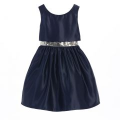 Sweet Kids Little Girls Navy Satin Sequin Waist Trim Christmas Dress 2-6
