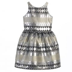 Sweet Kids Big Girls Silver Metallic Jacquard Sleeveless Christmas Dress 7-16