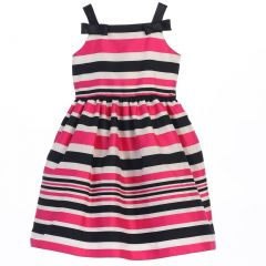 Sweet Kids Little Girls Fuchsia Woven Striped Organza Special Occasion Dress 2-6