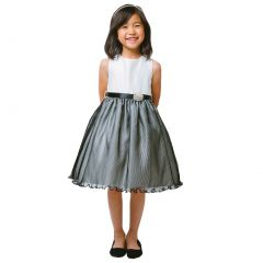 Sweet Kids Little Girls Ivory Black Pleated Organza Special Occasion Dress 2-6