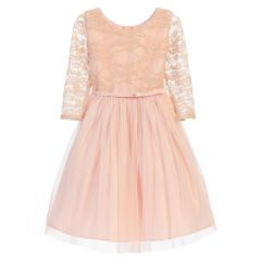 Sweet Kids Big Girls Blush Pink Lace Detail Overlaid Easter Dress 7-12