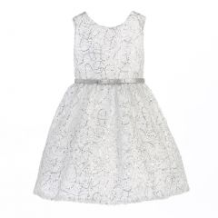 Sweet Kids Little Girls White Silver Metallic Cord Embroidery Christmas Dress 5