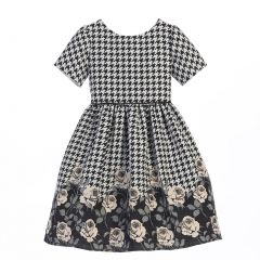 Sweet Kids Big Girls Champagne Houndstooth Jacquard Christmas Dress 7-12