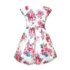 Sweet Kids Little Girls Off-White Fuchsia Floral Print Flower Girl Dress 2T-6