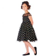 Sweet Kids Little Girls Black Gold Polka Dotted Overlay Occasion Dress 2-6