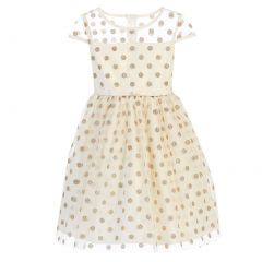 Sweet Kids Little Girls Ivory Gold Polka Dotted Overlay Occasion Dress 2-6