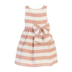 Sweet Kids Big Girls Sand White Stripe Ribbon Accent Occasion Dress 7-12