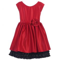 Sweet Kids Little Girls Red Black Rolled Flower Adorned Occasion Dress 2-6