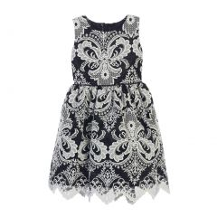 Sweet Kids Little Girls Black Damask Embroidered Lace Occasion Dress 2T