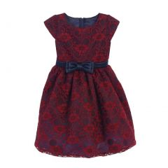 Sweet Kids Big Girls Burgundy Navy Floral Lace Bow Occasion Dress 7-12