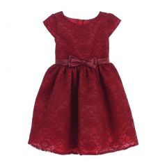 Sweet Kids Big Girls Burgundy Floral Lace Bow Occasion Dress 7-12
