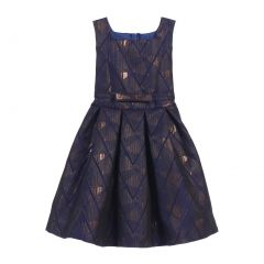 Sweet Kids Big Girls Royal Blue Geometric Jacquard Occasion Dress 7-16