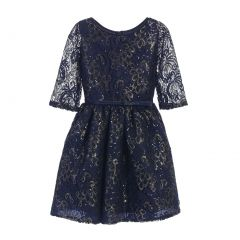 Sweet Kids Big Girls Navy Sequin Lace Gold Leaf Print Occasion Dress 7-16