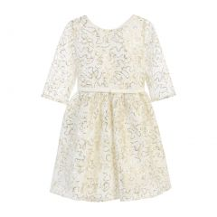 Sweet Kids Big Girls Off-White Sequin Lace Gold Leaf Occasion Dress 7-16
