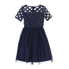 Sweet Kids Big Girls Navy Cross Hatch Satin Mesh Occasion Dress 7-16