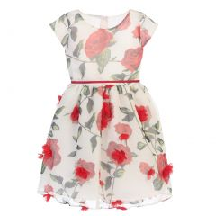 Sweet Kids Little Girls Off-White Rose Chiffon Petal Easter Dress 2-6