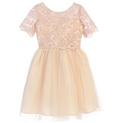 Sweet Kids Big Girls Champagne Cord Embroidered Junior Bridesmaid Dress 7-16