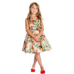 Sweet Kids Little Girls Gold Garden Floral Print Elegant Flower Girl Dress 2-6