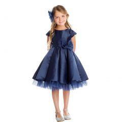 Sweet Kids Little Girls Navy Satin Full Pleated Bow Accent Christmas Dress 2-6