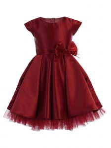 Sweet Kids Little Girls Burgundy Full Pleated Satin Bow Flower Girl Dress 2-6