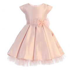 Sweet Kids Big Girls Pink Full Pleated Satin Oversized Bow Easter Dress 7-12