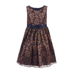 Sweet Kids Little Girls Navy Bronze Floral Embroidered Mesh Christmas Dress 2-6