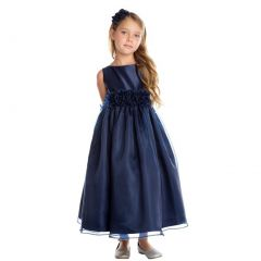 Sweet Kids Big Girls Navy Satin Organza Flower Adorned Christmas Dress 7-16