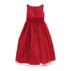 Sweet Kids Little Girls Red Satin Organza Flower Adorned Christmas Dress 2-6