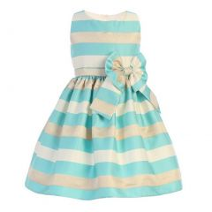 Sweet Kids Little Girls Turquoise Gold Champagne Satin Stripe Easter Dress 2-6