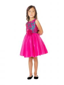 Sweet Kids Little Girls Fuchsia Floral Jacquard Tulle Christmas Dress 2-6
