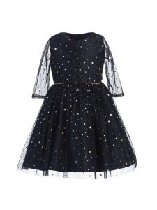 Sweet Kids Little Girls Navy Gold Star Dot Soft Mesh Christmas Dress 2-6