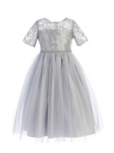 Sweet Kids Little Girls Gray Metallic Detail Mesh Tulle Christmas Dress 2-6