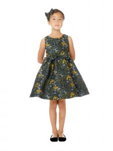 Sweet Kids Big Girls Blue Floral Jacquard Double Bow Christmas Dress 7-12