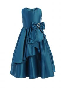 Sweet Kids Little Girls Peacock Satin Cascading Brooch Bow Christmas Dress 2-6