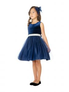 Sweet Kids Big Girls Navy Velvet Mesh Rhinestone Belt Christmas Dress 7-16