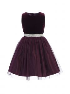 Sweet Kids Big Girls Plum Velvet Mesh Rhinestone Belt Christmas Dress 7-16