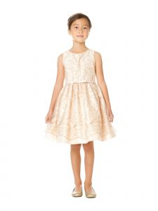 Sweet Kids Little Girls Champagne Snowflake Pearl Mesh Christmas Dress 2-6
