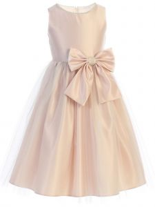 Sweet Kids Big Girls Blush Satin Tulle Pearl Ribbon Flower Girl Dress 7-12